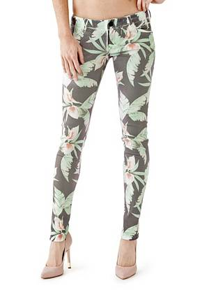 Denim Low Rise Jeans - Ultra-Low Rise Skinny Jeans with Tropical Bouquet Print