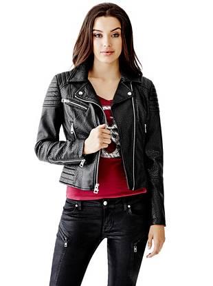 Leather Jackets - Faux-Leather Bubble Moto Jacket