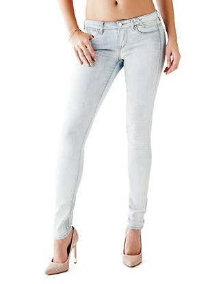 Indigo Wash Jeans - Low-Rise Jeggings in Champagne Wash