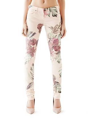 Low-Rise Jeggings with Colorful Forest Print