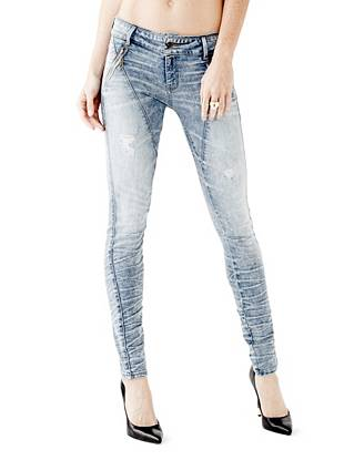 Mid-Rise Destroyed & Ripped Jeans - Letitia Mid-Rise Skinny Jeans in Palisades Wash