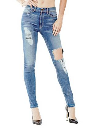 Indigo Wash Jeans - 1981 High-Rise Skinny Jeans in Ringside Destroy Wash