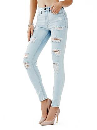 Indigo Wash Jeans - 1981 High-Rise Skinny Jeans in Sawtelle Destroy Wash