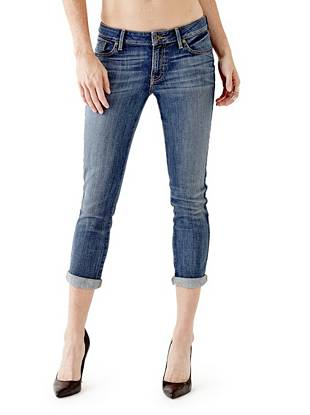 Indigo Wash Jeans - Mid-Rise Crop Jeans in Bookcase Wash