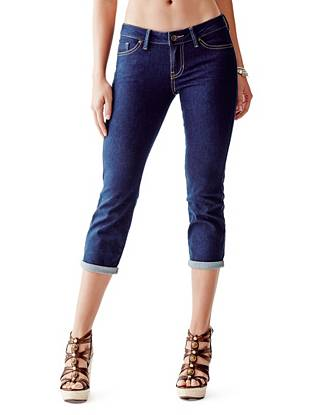 Indigo Wash Jeans - Mid-Rise Crop Jeans with Peacock Blue Rinse