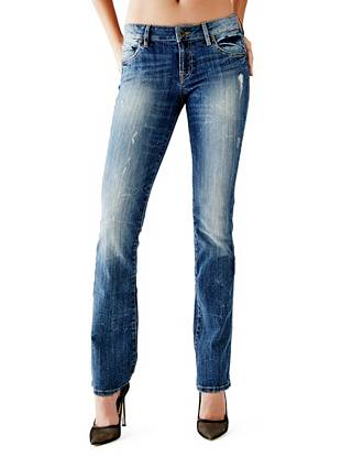 Mid-Rise Destroyed & Ripped Jeans - Mid-Rise Bootcut Jeans in Boombox Wash