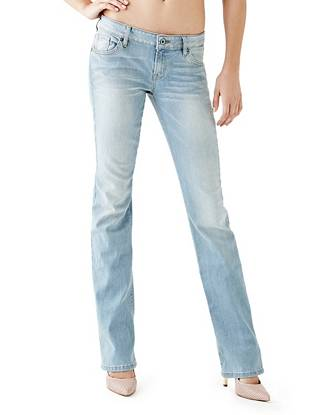 Indigo Wash Jeans - Mid-Rise Bootcut Jeans in Harrow Wash