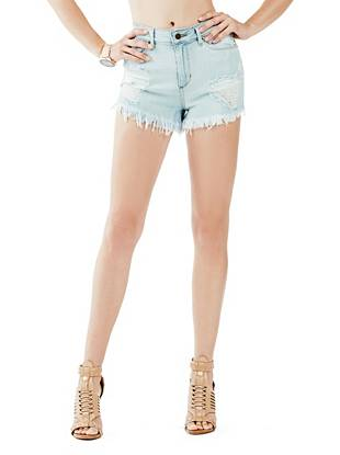 1981 High-Rise Denim Shorts in Sawtelle Destroy Wash