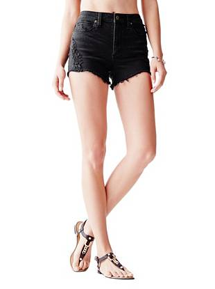 1981 High-Rise Denim Shorts in Blackhill Destroy Wash