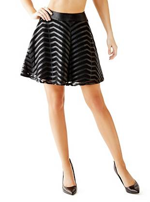 Faux-Leather and Mesh Skater Skirt