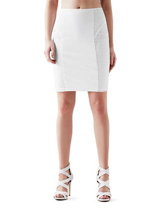 High-Rise Eyelet Pencil Skirt