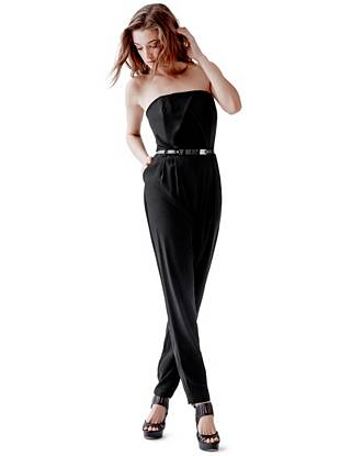 Give your favorite dress a rest and slip on this ultra-sexy jumpsuit for your next night out. Designed with flattering pleated details, a modern tapered leg and waist-defining belt, it's a one-piece wonder that turns heads.
