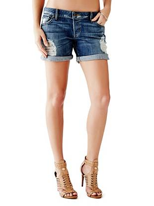 Boy-Fit Denim Shorts in Bookcase Destroy Wash