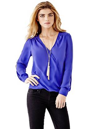 Long-Sleeve Wrap Top