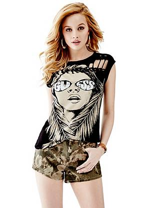 Cap-Sleeve Braided Graphic Tee