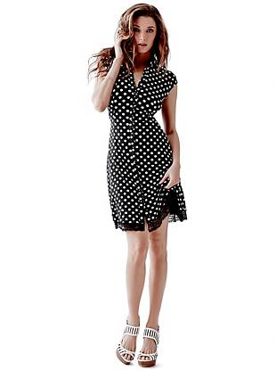 Channel that retro GUESS Girl look with this playfully sexy shirtdress. The high-contrast polka dots give a nod to our heritage while the sheer lace detail delivers a feminine, on-trend finish.