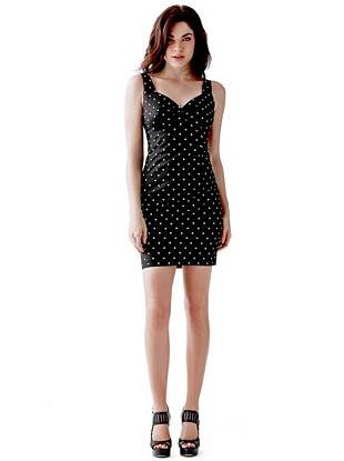 Inspired by our heritage, updated for today—this polka-dot dress embodies true GUESS Girl appeal. The body-hugging fit, sexy sweetheart neckline and revealing V-shaped back work together to create an ultra-feminine look that's worth flaunting.