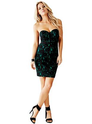 Corset Holiday Dresses - Strapless Lace Corset Dress