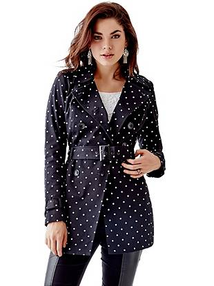 Long-Sleeve Classic Polka-Dot Trench Coat