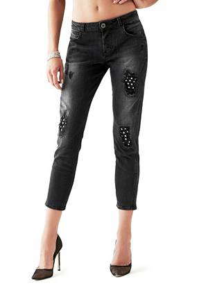 Mid-Rise Relaxed Tapered Jeans in Black Star Destroy Wash