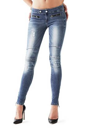 Indigo Wash Jeans - Low-Rise Skinny Biker Jeggings in Light Rumble Wash