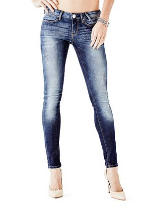 Indigo Wash Jeans - Low-Rise Skinny Jeggings in Fairfax Wash