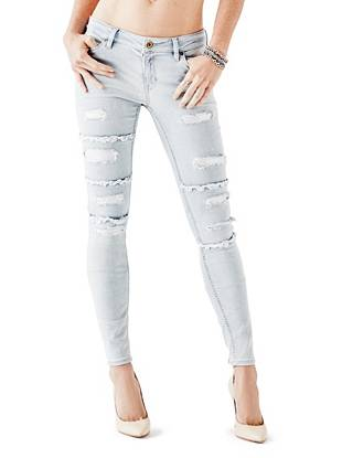 Indigo Wash Jeans - Mid-Rise Power Skinny Jeans in Silverfox Destroy Wash