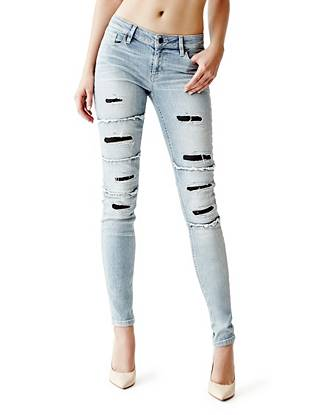 Indigo Wash Jeans - Mid-Rise Power Skinny Jeans in Blue Scale Destroy Wash