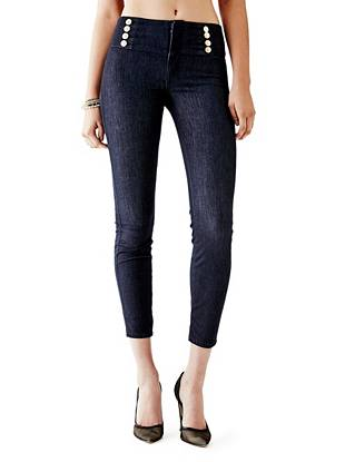 High-Rise Nautical Push-Up Jeggings with Silicone Rinse