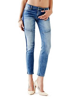 Indigo Wash Jeans - Mid-Rise Pencil Skinny Tuxedo Jeans in Bootstrap Wash