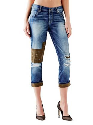 Indigo Wash Jeans - Mid-Rise Patched Boyfriend Jeans in Nashborough Wash