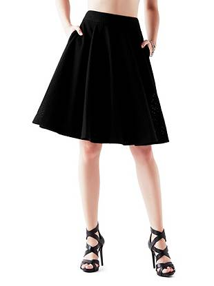 High-Rise Pointelle Circle Skirt