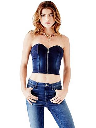 Denim Moto Zip-Up Corset