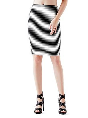 High-Rise Striped Pencil Skirt