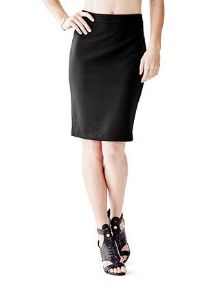 High-Rise Pointelle Pencil Skirt