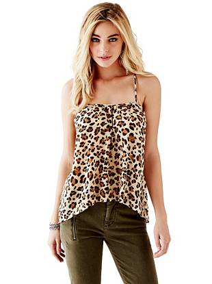 Animal Print Tank Tops - T-Strap Back Top