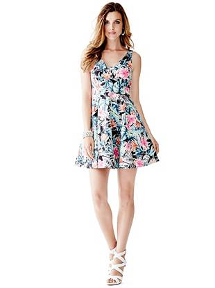 Sleeveless Jungle Floral Fit-and-Flare Dress