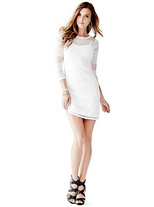 Three-Quarter Sleeve Flutter Sweater Dress