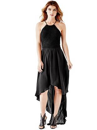 Chiffon Designer Dresses - Nola Sleeveless Crochet High-Low Dress