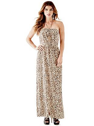 Maxi Winter Dresses - Leopard-Print Pleated Maxi Dress