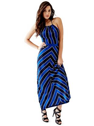 Maxi Winter Dresses - Sleeveless Striped Rope Maxi Dress