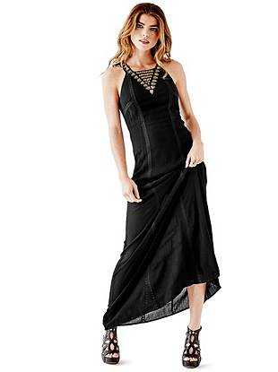 Maxi Winter Dresses - Sleeveless Embellished Maxi Dress