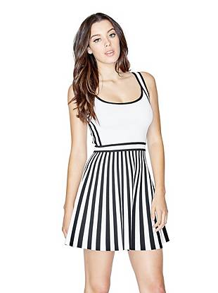 Sleeveless Mirage Bandage Striped Dress