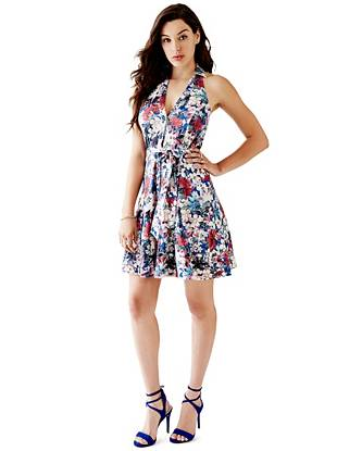 Halter Floral-Print Shirtdress