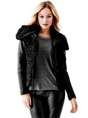 Leather Jackets - Contrast Textured Jacket