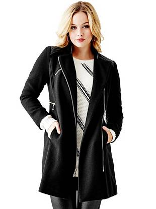Leather Jackets - Faux-Leather Mixed Coat