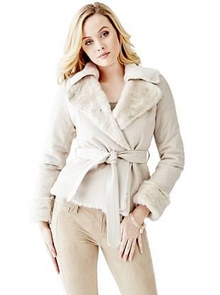 Leather Jackets - Faux-Fur Collar Leatherette Coat