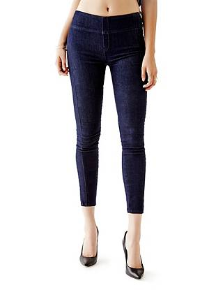 Indigo Wash Jeans - Mid-Rise Push-Up Jeggings with Silicone Rinse