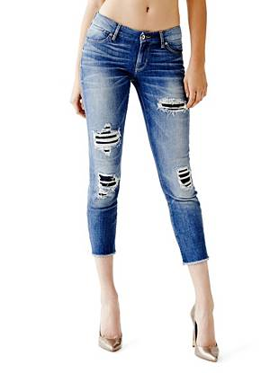 Indigo Wash Jeans - Mid-Rise Pencil Skinny Cropped Jeans in Moccasin Wash