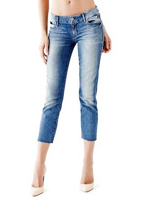 Indigo Wash Jeans - Mid-Rise Crop Pencil Skinny Jeans in Bowery Wash